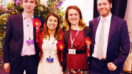 Tulip Siddiq with Labour candidates at the Camden Council vote count. Picture: Dieter Perry.
