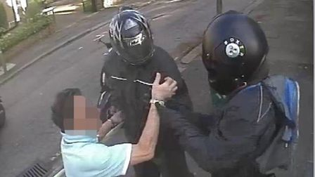 CCTV of another Hampstead resident being robbed by a scooter gang in a previous raid in April. Pictu