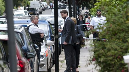Police investigate the death of an elderly man at Spencer House in Belsize Park Gardens. Picture: Ni
