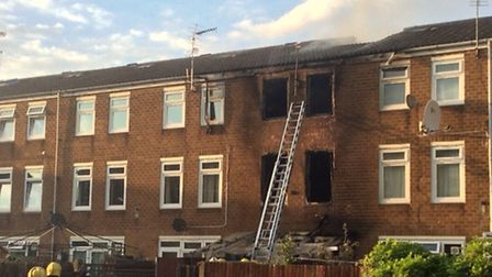 The fire in Malpas Road was brought under control by fire fighters just before 7.30pm. Photo by Betz