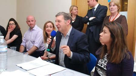 From left to right (front): Sarah Gottlieb, Cllr Simon Marcus, Cllr Claire-Louise Leyland, Geoff Mar