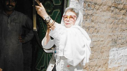 Louise Pennington Legh, who has died aged 90, with her rifle on the Khyber Pass