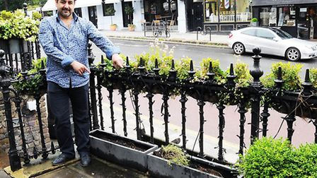 Co-owner Shadi Maleki outside Tandis, which was targeted by plant thieves. Picture: Dieter Perry