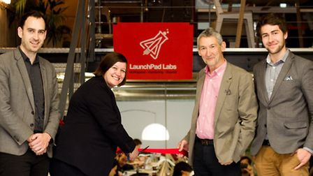 Launchpad Labs opening with MP Meg Hillier (second left), David (right) and Eddie (left)