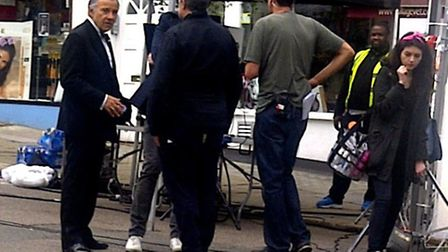 Hollywood actor Harvey Keitel on a film shoot in Belsize Village today. Picture: David Stark