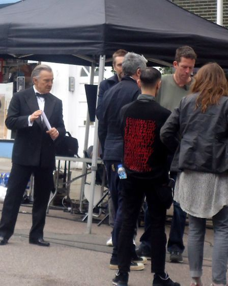 The Reservoir Dogs star was reportedly filming a commercial for insurance company Direct Line. Pictu