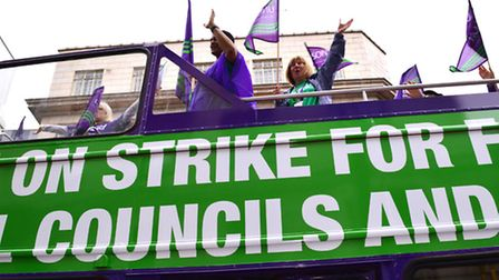The Unison bus at Camden Town Hall. Picture: Polly Hancock