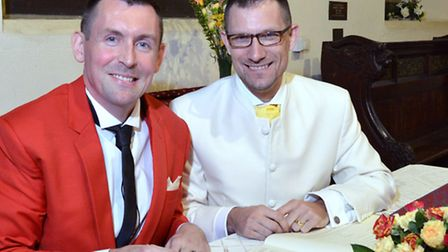 Russell Eagling (left) and Ed Fordham signing the register at Rosslyn Hill Unitarian Chapel. Picture