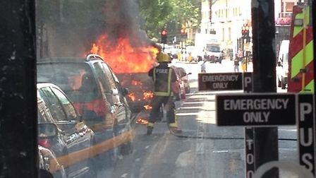 The vehicle on fire in Prince of Wales Road.