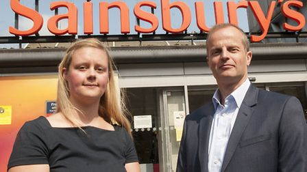 Caroline Vickerstaff and Garith Brown outside Sainsbury's in Camden Town. Picture: Nigel Sutton