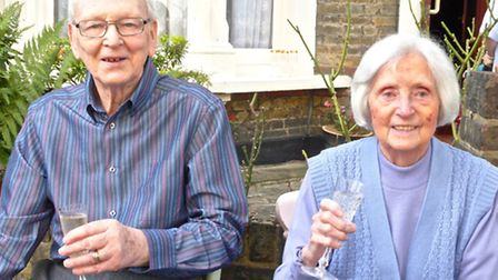 Guests of honour Leslie and Betty Broughton at the street party in Estelle Road, Gospel Oak