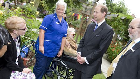 Earl of Wessex with Michael Kerin meet staff and patients during St Josephs Hospice Garden Visit. Ph