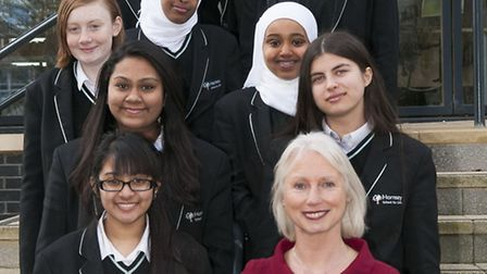 Hornsey school for girls celebrating good ofsted report, Students pictured with Head teacher Carol J