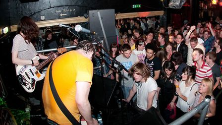 Crowds enjoy a set from band Johnny Foreigner during last year's Camden Crawl. Picture: James Perou.