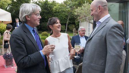 Andrew Mitchell MP with hostess Fiorella Massey and parliamentary candidate Simon Marcus. Picture: N