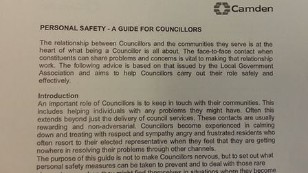 The Personal Safety Guide for councillors