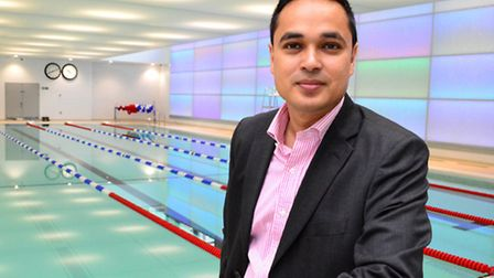 Cllr Abdul Hai in front of the 25m basement swimming pool. Picture: Polly Hancock.
