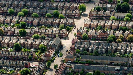 An aerial view of houses on residential streets in Muswell Hill, north London, as the majority of Lo
