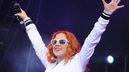 Katy B performs on stage at the Lovebox music festival held in Victoria Park, Hackney, London.