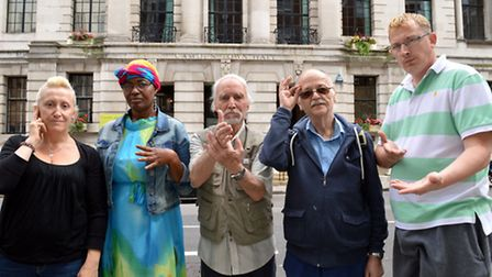 Deaf campaigners outside Camden Town Hall (from left) Janet Campbell, Joyce Yankey, Billy McLaughlin