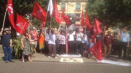 Look Ahead workers stage a protest outside Hackney Town Hall.