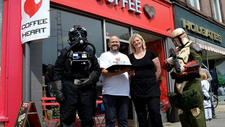 Coffee Heart in Lowestoft celebrating a previous successful event with some special guests. Picture: