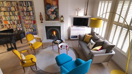 The living area, with its colourful vintage furniture