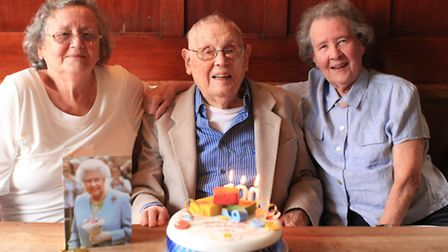 Hackney resident Will Iland celebrates his 100th birthday with sisters Olive Edmonds, left, and Gwen