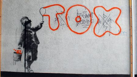 The banksy mural in Jeffrey's Street defaced by Team Robbo in 2011. Picture: Polly Hancock