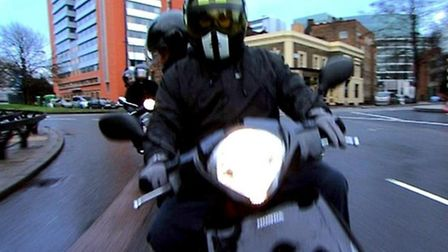 Police reconstruction of a moped robbery in 2007: Muggers riding a stolen scooter targeted Hampstead