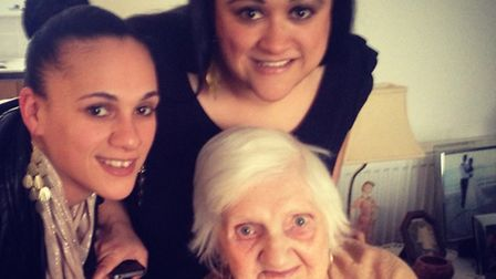 Bridget Rees, with her granddaughters Donna Rees (left) and Monica Duggan.