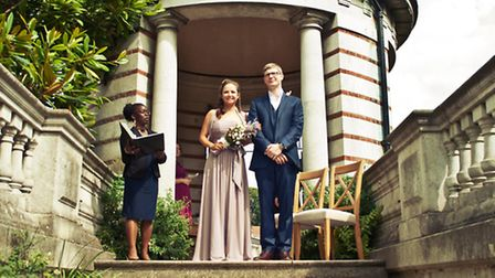 Kate Jaffe, 35, and Andrew Corden, 33, were the first couple to marry at Hampstead Heath's Hill Gard