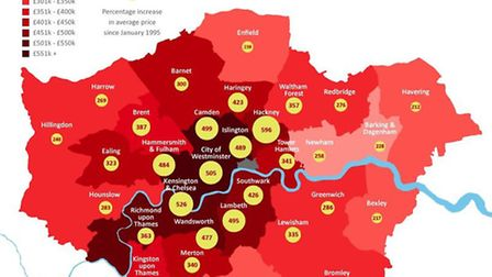 London property price increase map (click on image to see larger view)