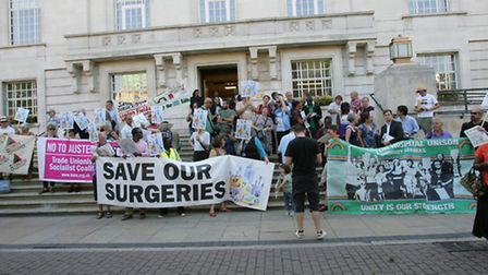 The protest on the steps of the Town Hall against cuts in GP surgeries