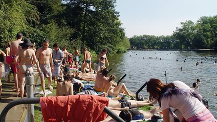 Mixed Pond swimmers and sunbathers, Hampstead Heath.