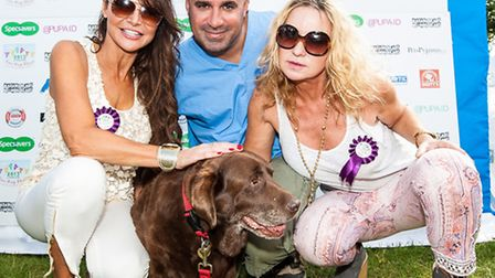 Lizzie Cundy, Marc the Vet [Marc Abraham] and Meg Matthews with Best Rescue dog class winner Zoe as