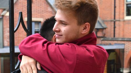 Highgate School pupil Thomas Stephens celebrates on A-level results day. Picture: Polly Hancock