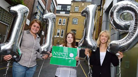 Left to right: NSPCC workers Kelly Thorndick and Kelly Evans with actress Beth Cordingly holding 111