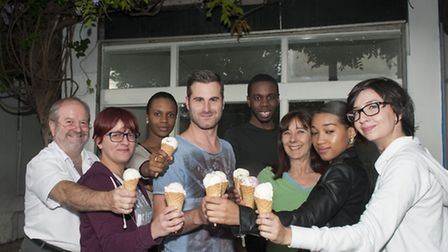 The Marine Ices team pictured outside their new Parlour in Chalk Farm Road. Picture: Nigel Sutton