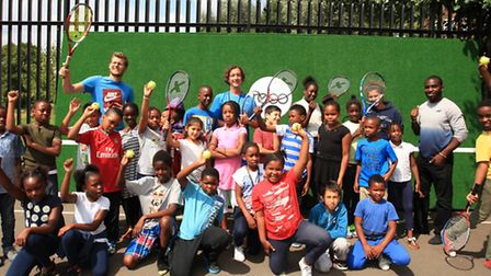 Youngsters get a tennis lesson at the new REBO wall at the Concorde Community Centre.