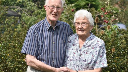 Denys and Patricia Simpson from Beccles, celebrate their diamond wedding anniversary Byline: Sonya D