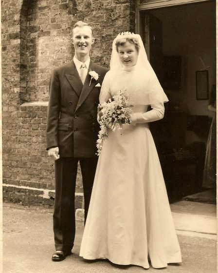 Denys and Patricia Simpson on their wedding day, August 17, 1957. Picture: Courtesy of Simpson famil
