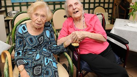 Ruth Kollner and Bella Shore, residents of Spring Grove Retirement Home, are both celebrating their