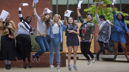 Clapton Girls' Academy in Clalpton celebrate their best-ever GCSE results last year