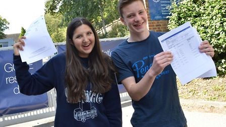North Bridge House pupils Florence Shaul and Brendan Comyn celebrate top grades. Picture: Polly Hanc