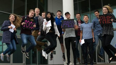 Students jumping for joy after picking up their A-level results. Picture: Courtesy of Lowestoft Sixt