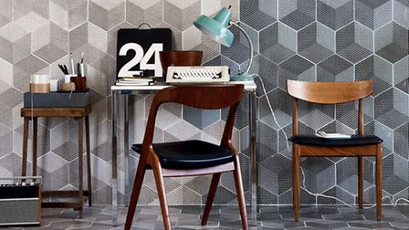 Fired Earth Graphix porcelain tiles in Chip (on left) and Grid (on right), �124.76 a square metre or
