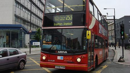 A man's ear was partly bitten off during a fight on a 253 bus in Camden Town on Friday night. Pictur