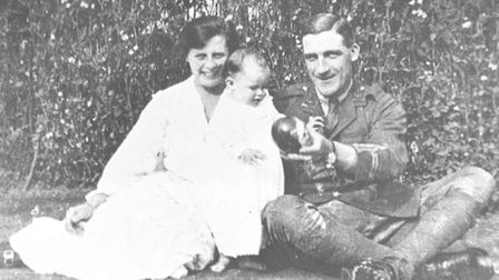Captain Charlie May with his wife Maude and their baby daughter Pauline, taken while the soldier was