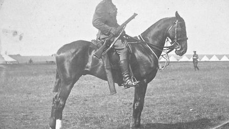 Captain Charlie May on horseback during the First World War